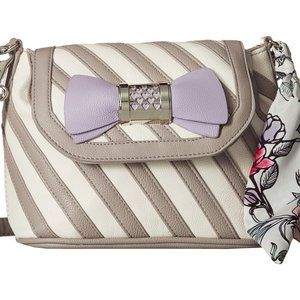 Gray and White Crossbody with Scarf